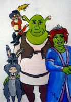 Shrek, Fiona, Donkey and Puss by jlh-arts