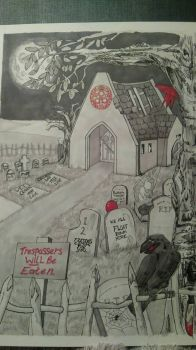 horror film graveyard  by 666pinky