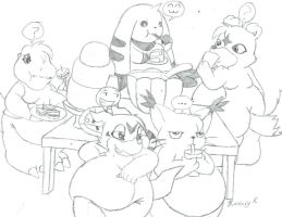 Chubby digimon party by BunearyK