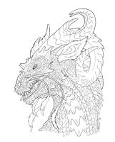 'Thirsty dragon' lineart by Sakalah