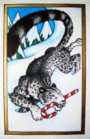 Holiday Snow Leopard by Jagarnot