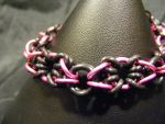 XOXO pink and black bracelet by BacktoEarthCreations