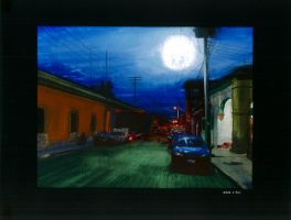 Street at Night - Gouache by BlueCat-Amber