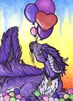 ACEO/ATC: With Balloons by Samantha-dragon