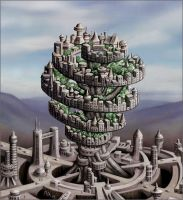 Strange cities 1 - Spiral tree by Astalo