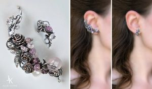 Silver ear cuff and stud Frozen roses by JSjewelry