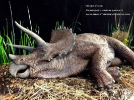 Sick triceratops Painted By Martin Garratt. by GalileoN
