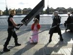 Cloud, Sephiroth and Aerith with her leg warmers by JenovaBoi