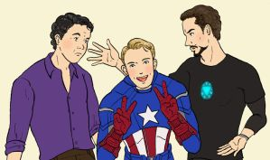 Science Bros and the Cap by cyen