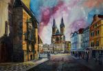 Prague - Traditional art. Watercolor. 55x75 cm by MsRiin