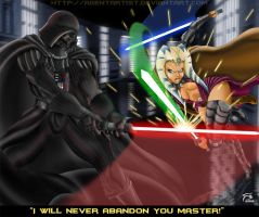 Darth Vader Vs Master Tano by AgentArtist