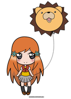 Chibi Orihime and Balloon Kon by OrigSessy