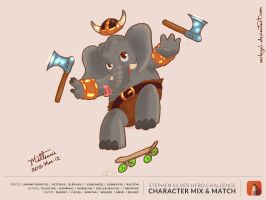 Elephant Skate Boarding Viking by MrBIGAL