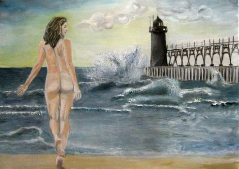 Nude by the seaside by any--mel