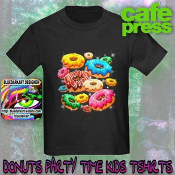 Donuts Party Time Kids Tshirts by Bluedarkat
