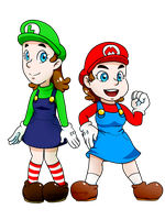 SMB_Super Maria Sisters: Maria and Luigina  -NEW- by Chivi-chivik