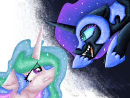 Celestia And Nightmare Moon by CoolMoonXX