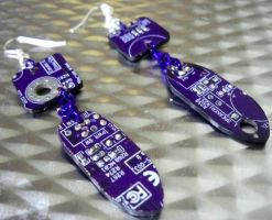 Purple Circuit Board Earrings by Divulged