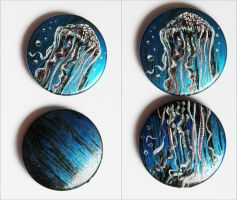 Jellyfish hand painted beads by KrakoWitches