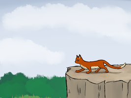 Cat On Cliff Overlooking Forest by R3dRulez
