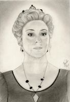 Megan Follows as Queen Catherine (Graphite sketch) by julesrizz