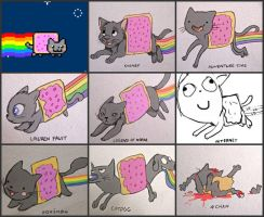 Nyan cat in different styles by Yellowbellyhill