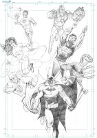 Justice League (pencils) by J-Rayner
