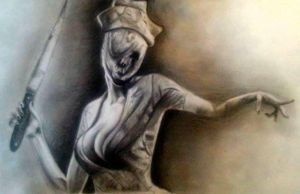 Silent hill nurse drawing by PufferfishCat