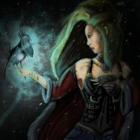 Woman, bird and star by MeLiNaHTheMixed