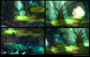Cave Backgrounds by Derlaine8