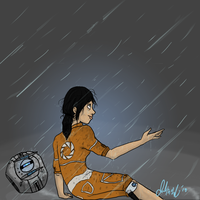 Chell in the rain by Wolf-Shadow77