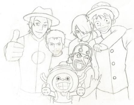 One piece postcard-lineart by codelyoko7296