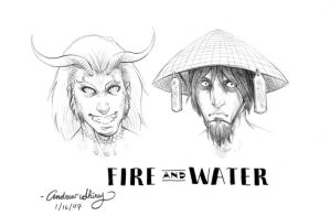 Fire and Water -portraits- by silentsketcher