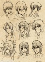 Anime character doodles 2 by Amarevia