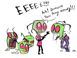 Zim Plush meets his prototypes by VengefulSpirits