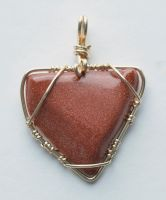 Goldstone Triangle Pendant Gf Wire by lamorth-the-seeker
