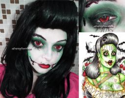 Pinup zombie Girl Halloween Inspired Look by cherrybomb-81