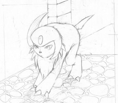 :Sketch - Absol: by endless-whispers
