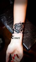 black and grey rose tattoo by TimHag