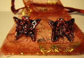 Crimson Butterfly Earrings by Shakahnna