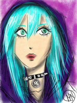 blue haired girl by MaliciousNature