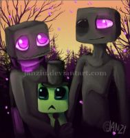 Endermen and a Creeper by Janziu