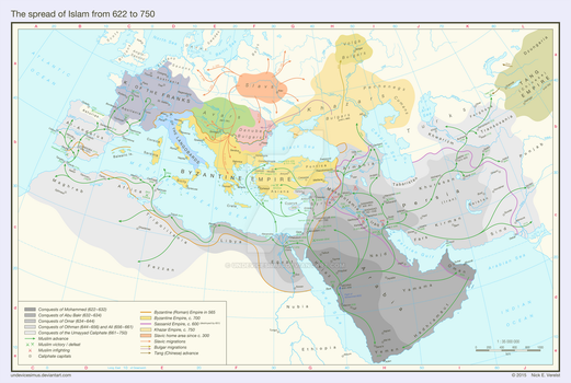 The spread of Islam from 622 to 750 by Undevicesimus