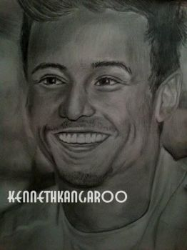 Tom Daley Realistic Drawing by kennethkangaroo