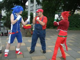 Sonic VS. Mario and Knuckles by Silver-lion