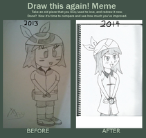 Pokemon : Redrawn of May (Before and After) by Devilboy58