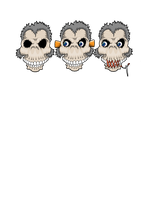 three zombie monkeys by yayzus