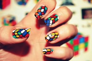 Rubik's Nails by CosmosBrownie