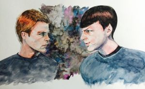 Captain Kirk and Spock by aohnna