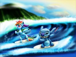 Surfing Stitch and Dash by NeoseekerStitch